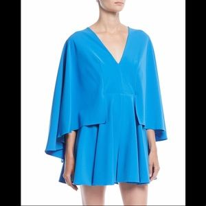 Milly Celina Italian-cady Romper with Cape